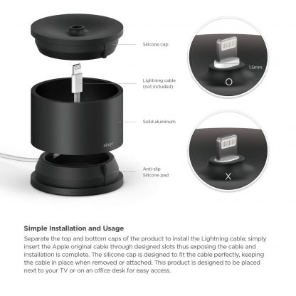 Elago D Stand Charging Station - док станция за iPhone, iPad mini, Siri Remote, Magic Mouse и Wireless Keyboard (черна) 2