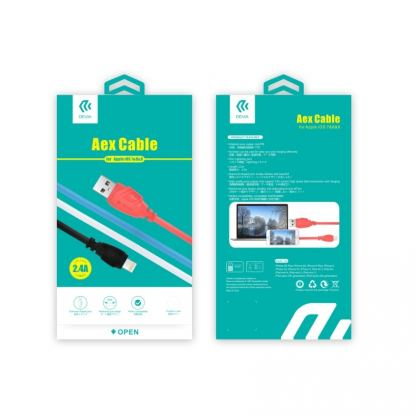 Devia Aex Lightning Data Cable 1.2m. - гумиран lightning кабел (120 см.) за iPhone, iPad и iPod с Lightning вход (червен) 2