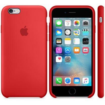 Apple Silicone Case - оригинален силиконов кейс за iPhone 6, iPhone 6S (тъмночервен) 2