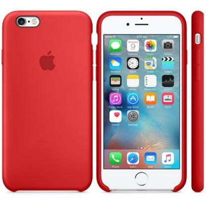 Apple Silicone Case - оригинален силиконов кейс за iPhone 6, iPhone 6S (тъмночервен) 4
