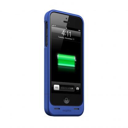 Mophie Juice Pack Helium - качествен кейс с вградена батерия 1500 mAh за iPhone 5S, iPhone 5, iPhone SE (тъмносин) 2