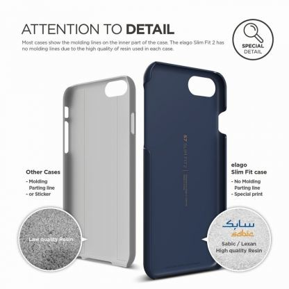Elago S7 Slim Fit 2 Case + HD Clear Film - поликарбонатов кейс и HD покритие за iPhone 7, iPhone 8 (тъмносин) 4