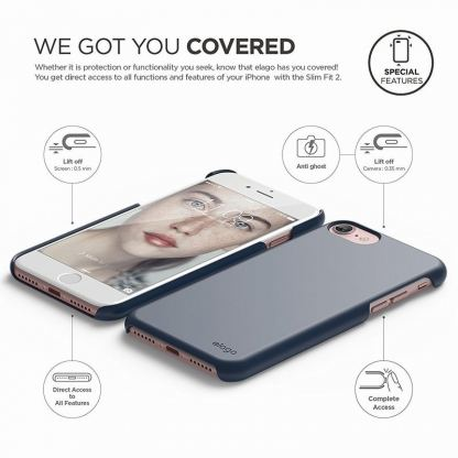 Elago S7 Slim Fit 2 Case + HD Clear Film - поликарбонатов кейс и HD покритие за iPhone 7, iPhone 8 (тъмносин) 5