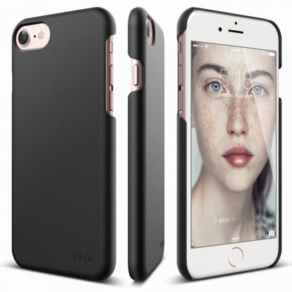 Elago S7 Slim Fit 2 Case + HD Clear Film - поликарбонатов кейс и HD покритие за iPhone 7, iPhone 8 (черен-мат)