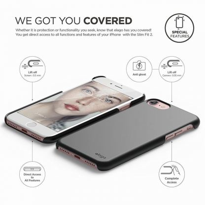 Elago S7 Slim Fit 2 Case + HD Clear Film - поликарбонатов кейс и HD покритие за iPhone 7, iPhone 8 (черен-мат) 4