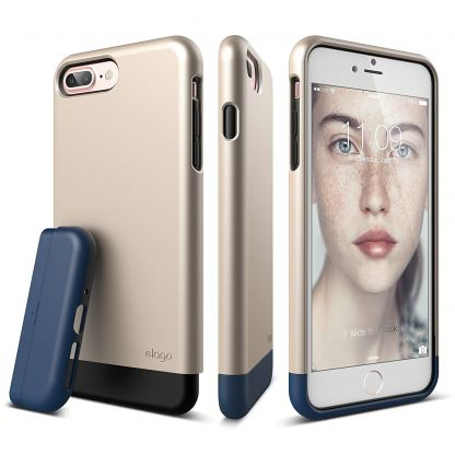 Elago S7 Glide Case + HD Clear Film - поликарбонатов кейс и HD покритие за iPhone 7 Plus (златист-тъмносин)