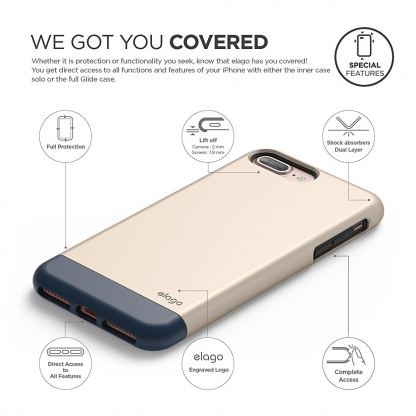 Elago S7 Glide Case + HD Clear Film - поликарбонатов кейс и HD покритие за iPhone 7 Plus (златист-тъмносин) 2