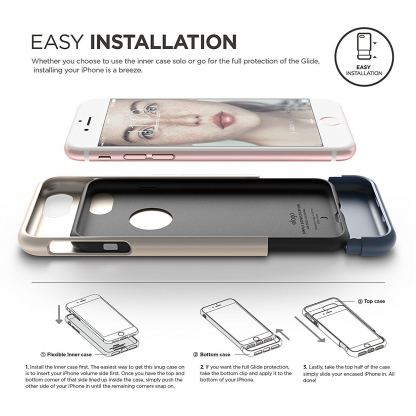 Elago S7 Glide Case + HD Clear Film - поликарбонатов кейс и HD покритие за iPhone 7 Plus (златист-тъмносин) 3