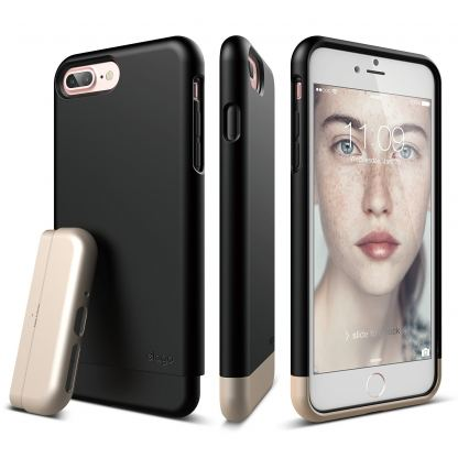 Elago S7 Glide Case + HD Clear Film - поликарбонатов кейс и HD покритие за iPhone 7 Plus, iPhone 8 Plus (черен-златист)