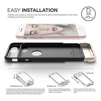 Elago S7 Glide Case + HD Clear Film - поликарбонатов кейс и HD покритие за iPhone 7 Plus, iPhone 8 Plus (черен-златист) 3
