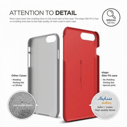 Elago S7 Slim Fit 2 Case + HD Clear Film - поликарбонатов кейс и HD покритие за iPhone 7 Plus, iPhone 8 Plus (червен) 5
