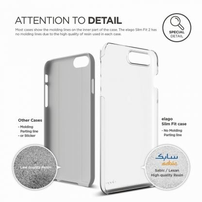 Elago S7 Slim Fit 2 Case + HD Clear Film - поликарбонатов кейс и HD покритие за iPhone 7 Plus (прозрачен) 2