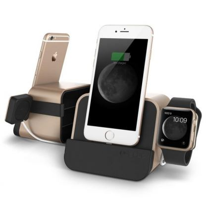 Verus New i-Depot Plus Cradle - док станция за iPhone 7, 7 Plus, 6/6S, 6 Plus/6S Plus, iPhone 5/5S/5C/SE, iPad mini (всички поколения), iPad Air/Air 2, iPad Pro 9.7 и Apple Watch (златиста) 2