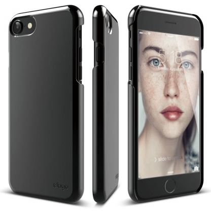 Elago S7 Slim Fit 2 Case + HD Clear Film - поликарбонатов кейс и HD покритие за iPhone 7 (черен-лъскав) 6