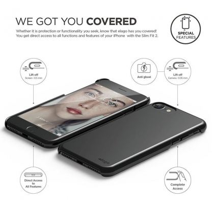 Elago S7 Slim Fit 2 Case + HD Clear Film - поликарбонатов кейс и HD покритие за iPhone 7 (черен-лъскав) 3