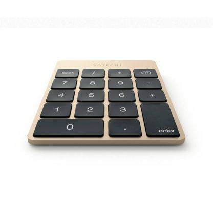 Satechi Slim Aluminum Wireless Keypad - безжична Bluetooth клавиатура с 18 бутона за MacBook (златиста) 5
