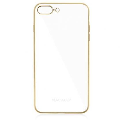 Macally Luxr Soft Case - силиконов (TPU) калъф за iPhone 7 Plus, iPhone 8 Plus (прозрачен-златист)