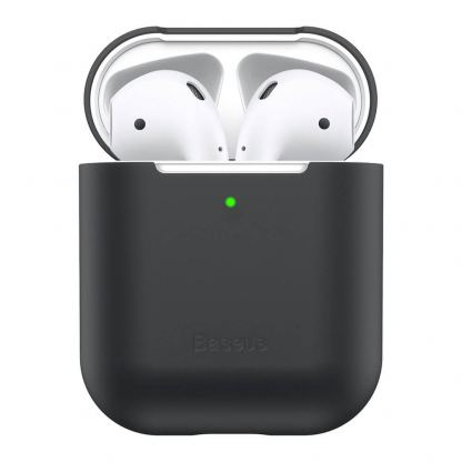 Baseus Super Thin Silica Gel Case - силиконов калъф за Apple Airpods & Apple Airpods 2 (черен) 5