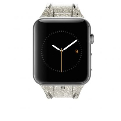 CaseMate Sheer Glam Strap - еластична каишка за Apple Watch 42mm (прозрачен-златист) 2