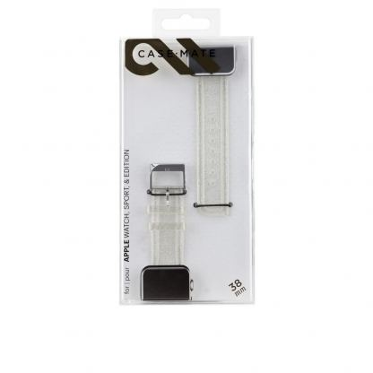 CaseMate Sheer Glam Strap - еластична каишка за Apple Watch 42mm (прозрачен-златист) 7