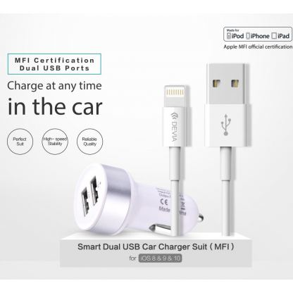 Devia Dual USB Smart Charger MFI Lightning Suit - зарядно за кола с 2xUSB изхода и Lightning кабел за iPhone, iPad и iPod (бял) 3