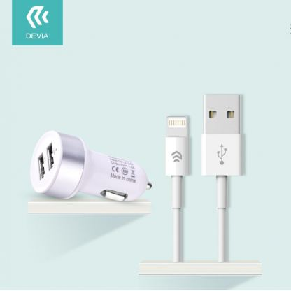 Devia Dual USB Smart Charger Lightning Suit - зарядно за кола с 2xUSB изхода и Lightning кабел за iPhone, iPad и iPod (бял) 3