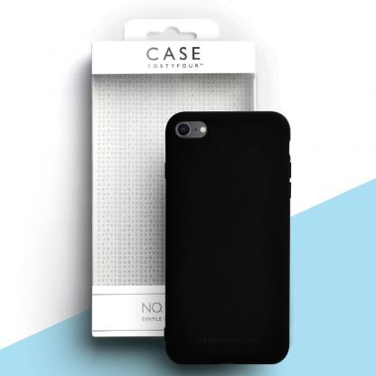Case FortyFour No.1 Case - силиконов (TPU) калъф за iPhone SE (2020), iPhone 8, iPhone 7 (черен)