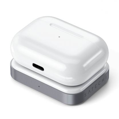 Satechi USB-C Wireless Charging Dock for Apple Airpods - USB-C док за зареждане на Apple Airpods Pro и Airpods 2 Wireless Charging Case (бял) 4