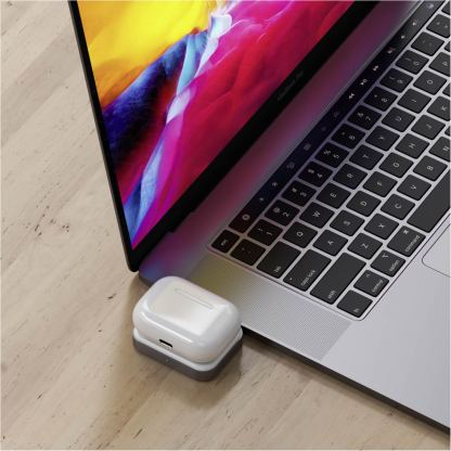 Satechi USB-C Wireless Charging Dock for Apple Airpods - USB-C док за зареждане на Apple Airpods Pro и Airpods 2 Wireless Charging Case (бял) 6