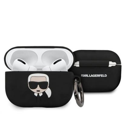 Karl Lagerfeld Airpods Pro Ikonik Silicone Case - силиконов калъф с карабинер за Apple Airpods Pro (черен)