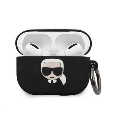 Karl Lagerfeld Airpods Pro Ikonik Silicone Case - силиконов калъф с карабинер за Apple Airpods Pro (черен) 2