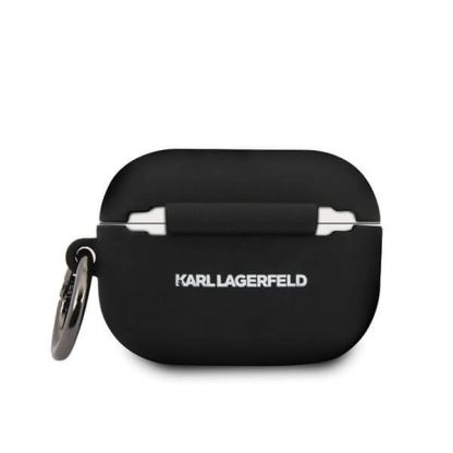 Karl Lagerfeld Airpods Pro Ikonik Silicone Case - силиконов калъф с карабинер за Apple Airpods Pro (черен) 3