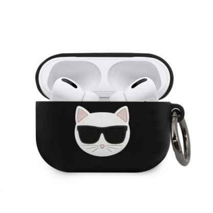 Karl Lagerfeld Airpods Pro Choupette Silicone Case - силиконов калъф с карабинер за Apple Airpods Pro (черен)
