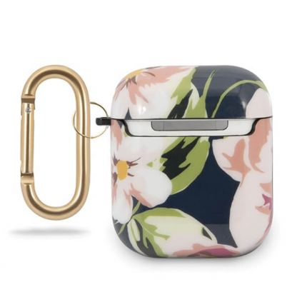 Guess Airpods Silicone Case Flower Collection No.3 - силиконов калъф с карабинер за Apple Airpods и Apple Airpods 2 (син) 2