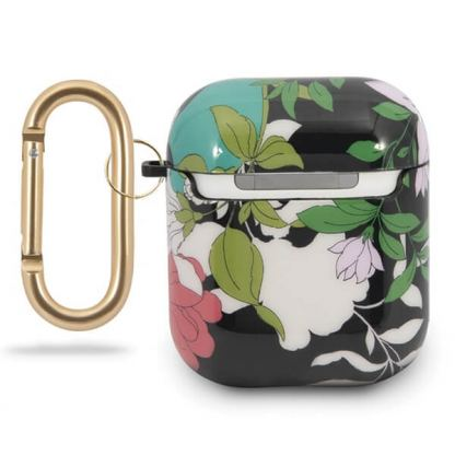 Guess Airpods Silicone Case Flower Collection No.1 - силиконов калъф с карабинер за Apple Airpods и Apple Airpods 2 (зелен) 2