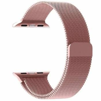 Tactical 343 Milanese Loop Magnetic Stainless Steel Band - стоманена, неръждаема каишка за Apple Watch 42мм, 44мм (розово злато)