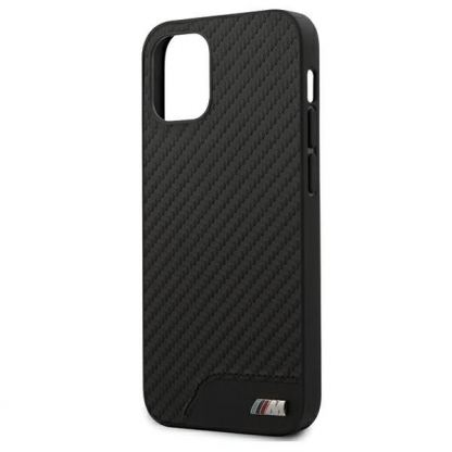 BMW M Collection PU Carbon Hard Case - кожен кейс за iPhone 12 mini (черен) 4