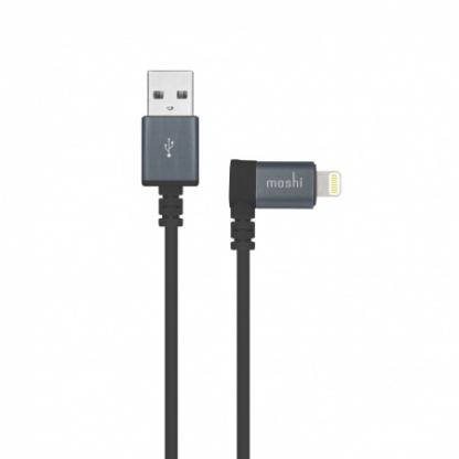 Moshi Lightning to USB Cable 90 degrees - USB кабел за iPhone 7, 7 Plus, 6/6S, 6/6S Plus, 5/5S/5C/SE, iPad, iPod и всички устройства с Lightning конектор (100 см) (черен)