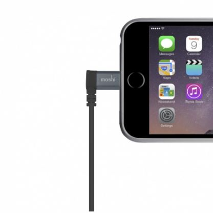Moshi Lightning to USB Cable 90 degrees - USB кабел за iPhone 7, 7 Plus, 6/6S, 6/6S Plus, 5/5S/5C/SE, iPad, iPod и всички устройства с Lightning конектор (100 см) (черен) 3