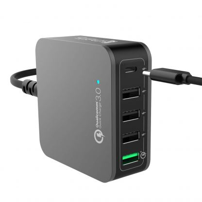 4smarts Charging Station VoltPlug Qualcomm Quick Charge 3.0 & USB Type-C 40W (12A)- захранване с 4хUSB изхода и USB-C изход 3