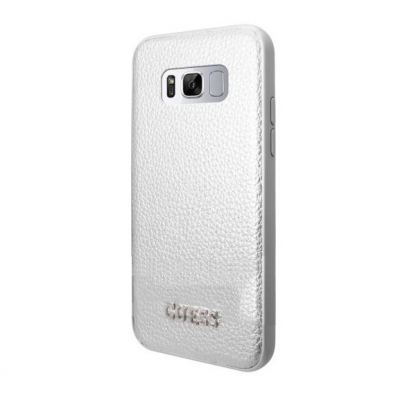 Guess Iridescent Leather Hard Case - дизайнерски кожен кейс за Samsung Galaxy S8 (сребрист)