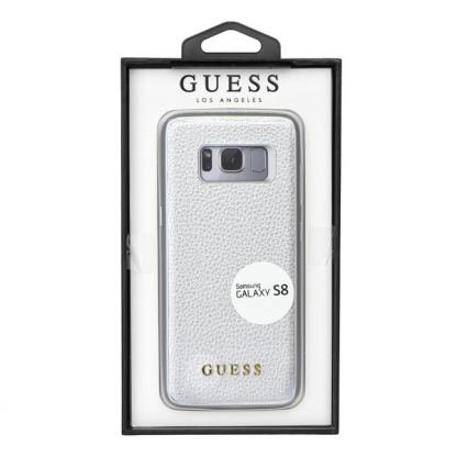 Guess Iridescent Leather Hard Case - дизайнерски кожен кейс за Samsung Galaxy S8 (сребрист) 2