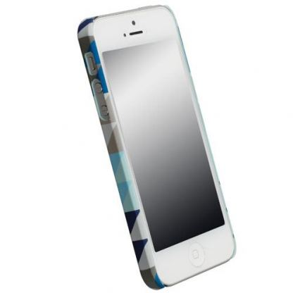Krusell PrintCover Blue Triangle - поликарбонатов кейс за iPhone 5 2
