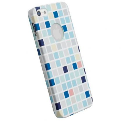 Krusell PrintCover Blue Square - поликарбонатов кейс за iPhone 5
