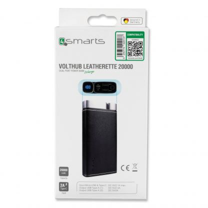 4smarts Power Bank VoltHub Leatherette 20000 mAh - външна батерия с два USB и USB-C изходи (черен) 7