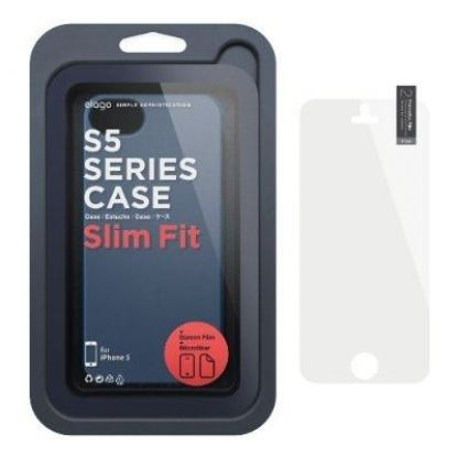 Elago S5 Slim Fit 2 Case + HD Clear Film - кейс и HD покритие за iPhone 5 (тъмносин-мат) 2