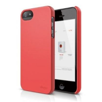 Elago S5 Slim Fit 2 Case + HD Clear Film - кейс и HD покритие за iPhone 5 (светлочервен-мат)