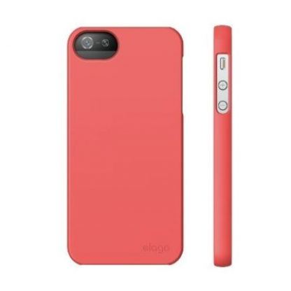 Elago S5 Slim Fit 2 Case + HD Clear Film - кейс и HD покритие за iPhone 5 (светлочервен-мат) 2
