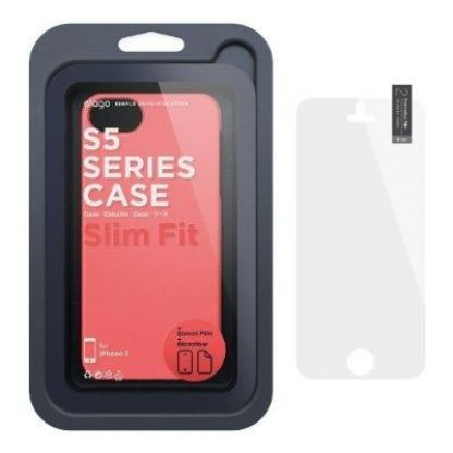 Elago S5 Slim Fit 2 Case + HD Clear Film - кейс и HD покритие за iPhone 5 (светлочервен-мат) 3