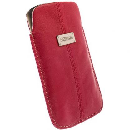 Krusell LUNA POUCH 3XL - кожен калъф за HTC Sensation XL, HTC One X, Galaxy S3, Galaxy Nexus и др. (червен)